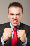 Portrait of a young angry business man Stock Images