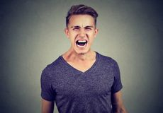 Portrait of an angry man screaming. Portrait of a young angry casual man screaming on gray background Royalty Free Stock Photo