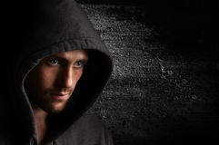 Portrait of a young angry man in the hood Royalty Free Stock Image