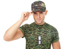 Portrait of young army soldier Stock Photos