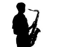 Portrait of a young artist with a sax Royalty Free Stock Photos
