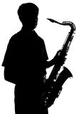 Portrait of a young artist with a sax Stock Photo