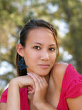 Portrait of young asian american woman with hands Stock Images