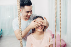 Portrait of young asian couple relaxing at home Stock Photos