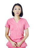 Portrait of young asian doctor isolated on white background Royalty Free Stock Images