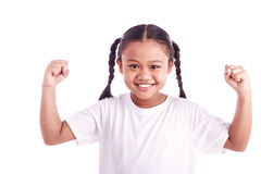 Portrait of young Asian girl raise both hand isolated on white Stock Photo