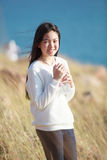Portrait of young asian girl  smiling face happiness emotion wit Stock Photos