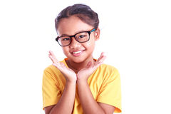 Portrait of young Asian girl wear glasses isolated on white. Background Stock Image