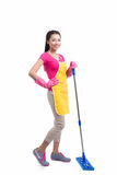 Portrait Of Young Asian housewife Cleaning Floor With Mop in ful Royalty Free Stock Image
