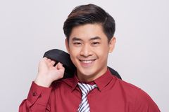 Portrait of young asian man isolated on white background.  Royalty Free Stock Photo