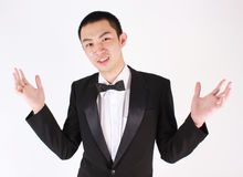 Portrait of young asian man wearing tuxedo. Royalty Free Stock Photography