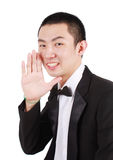 Portrait of young asian man wearing tuxedo Stock Image
