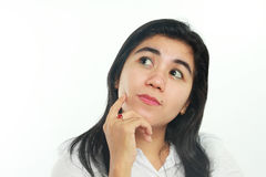 Portrait of a Young Asian Woman Thinking Stock Images