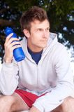Portrait of a young athlete with water bottle Stock Photography