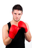 Portrait of a young athletic man with boxing Royalty Free Stock Photo