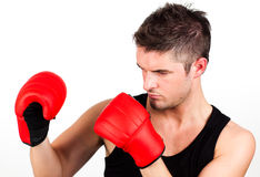 Portrait of a young athletic man with boxing Royalty Free Stock Image