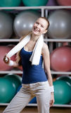 Portrait of a young athletic woman with towel Stock Photo