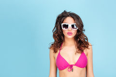 Portrait of a young atractive sexy brunette in beach outfit Royalty Free Stock Photography