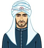 Portrait of the young attractive Arab man in a turban. The vector illustration isolated on a white background Stock Photos