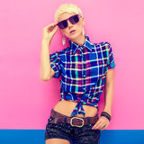 Young attractive blond girl, country look Royalty Free Stock Images