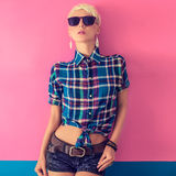 Young attractive blond girl, country look Stock Images
