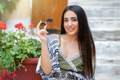 Portrait of a young, attractive bohemian style woman royalty free stock image