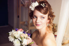 Portrait of young attractive bride Stock Images