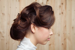 Portrait of young attractive bride hairstyle Royalty Free Stock Photos