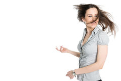 Portrait of brunette with flying hair Stock Photos