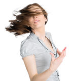 Portrait of brunette with flying hair Royalty Free Stock Image