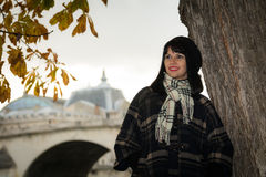 Portrait of young attractive brunette on vacation in Paris Franc Royalty Free Stock Image