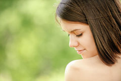 Portrait of young attractive brunette woman Stock Photo