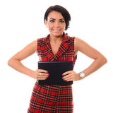 Portrait of young attractive brunette woman using tablet computer Stock Image