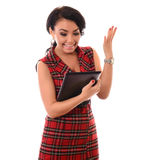 Portrait of young attractive brunette woman using tablet computer Stock Photography