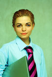 Portrait of a young attractive business woman. Black and white colors Stock Image