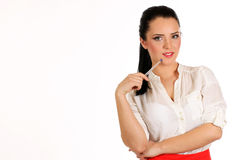 Portrait of a young attractive business woman.Isoleted on white background. Royalty Free Stock Image