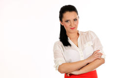 Portrait of a young attractive business woman.Isoleted on white background. Royalty Free Stock Photos