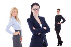 Portrait of young attractive business women isolated on white Royalty Free Stock Image