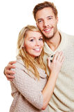 Portrait of young attractive couple. Looking into the camera Royalty Free Stock Images