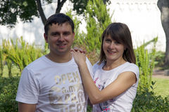 Attractive couple in nature Stock Photography