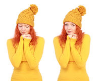 Portrait of young attractive emotional woman in yellow hat royalty free stock images