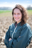 Portrait of a young attractive farmer in fields Stock Photo