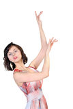 Young  attractive brunette with hands raised up Royalty Free Stock Images