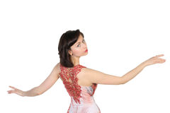 Portrait of  beautiful brunette with raised open hands Royalty Free Stock Photos