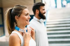 Portrait of young attractive happy fitness couple Royalty Free Stock Image