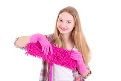 Portrait of young attractive housewife with mop isolated on whit Stock Images