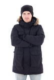 Portrait of young attractive man in black winter jacket isolated Stock Photos