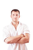 Portrait of a young attractive man in white shirt Stock Images