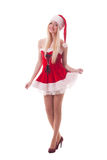 Portrait of  a young attractive sexy Santa girl Royalty Free Stock Images