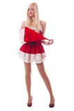 Portrait of  a young attractive sexy Santa girl Stock Photography